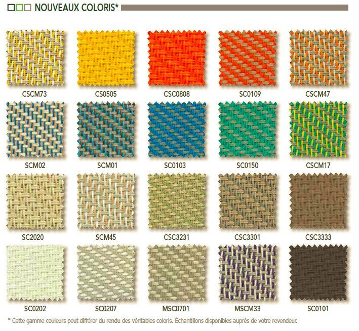 coloris des teintes possibles pour les stores intégrés Art Home Alu